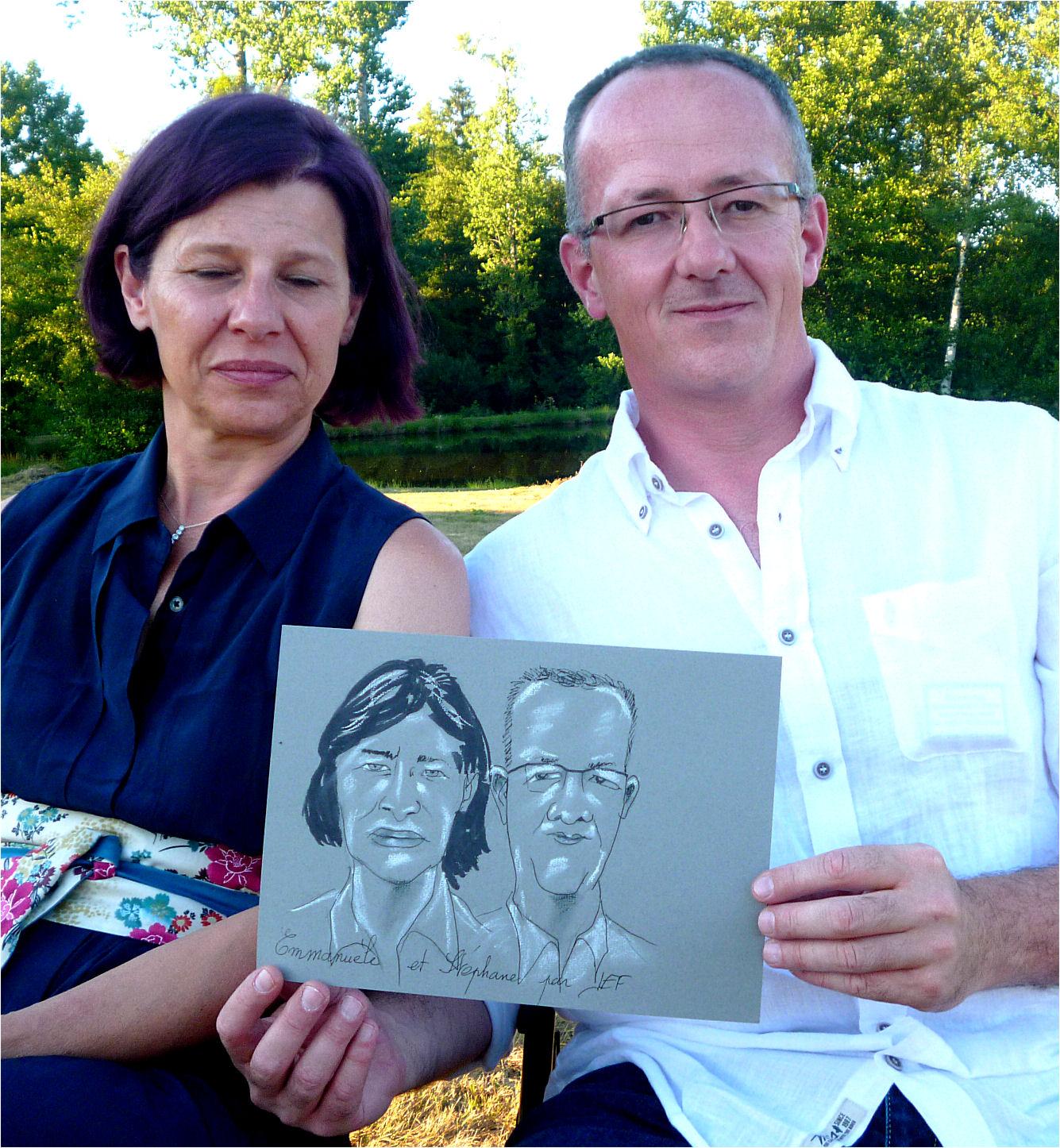 Emmanuèle et Stéphane caricature de JEF