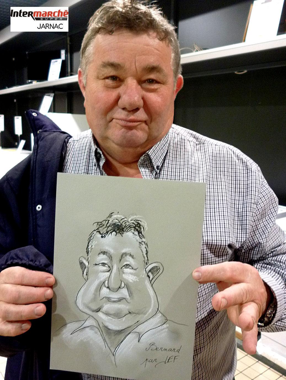 Bernard Brie président du marathon de Cognac caricaturé par JEF