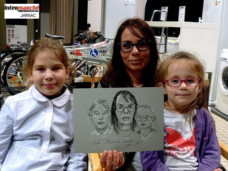 Lola, Elodie et Emma caricaturées par JEF
