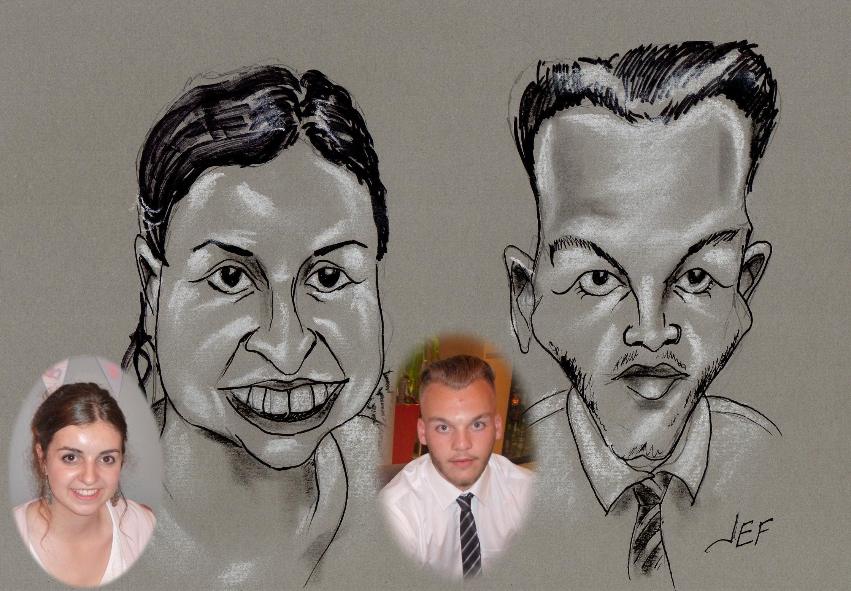 Ambre et Sulivan caricature de JEF