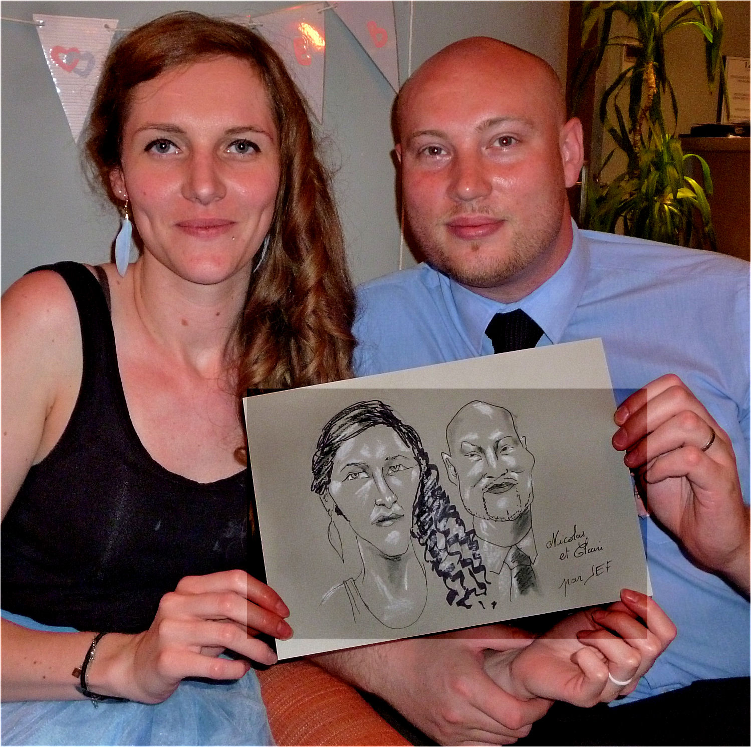 Claire et Nicolas, caricature par JEF