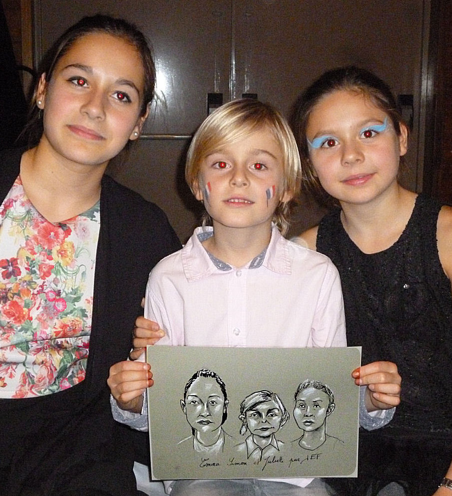 Emma, Simon et Juliette caricature de JEF