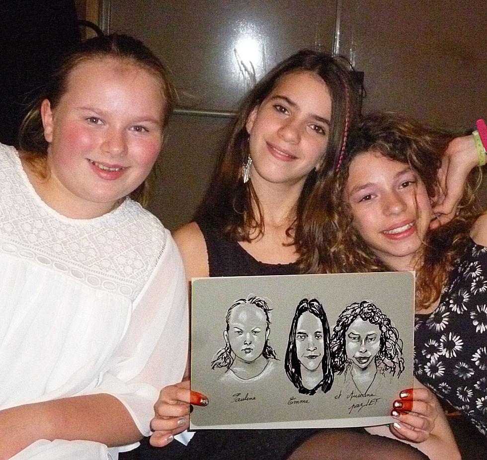 Pauline, Emma et Auxane caricatures par JEF
