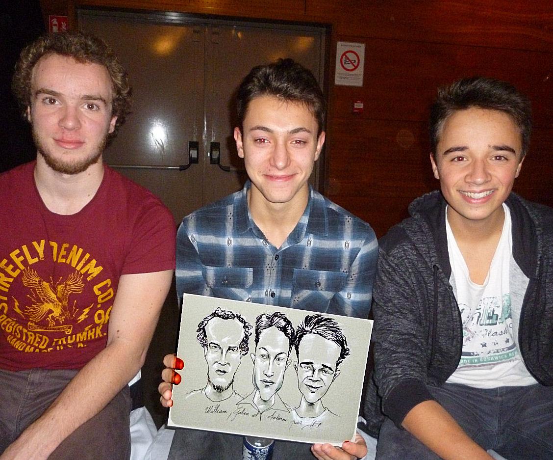 William, Gabien et Antoine caricatures par JEF